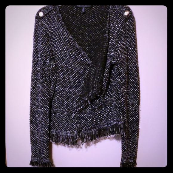 White House Black Market Sweaters - Whbm cardigan fringe sweater black&white warm